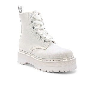 Dr. Martens Molly 6-Eye White Glitter Boot Sz 9M